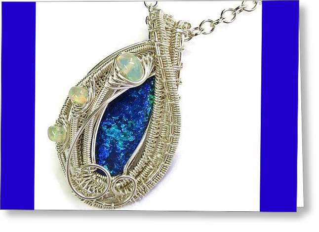 Wrap Jewelry Greeting Cards - Wire-Wrapped Coober Pedy Australian Opal Pendant in Sterling Silver with Ethiopian Opals ABOPSS Greeting Card by Heather Jordan