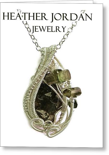 Woven Jewelry Greeting Cards - Wire-Wrapped Seymchan Pallasite Meteorite Pendant in Sterling Silver with Green Tourmaline Crystals  Greeting Card by Heather Jordan