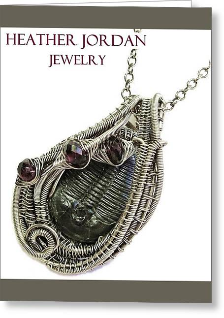 Wrap Jewelry Greeting Cards - Wire-Wrapped Trilobite Fossil Pendant in Antiqued Sterling Silver with Rhodolite Garnet TRILSS7 Greeting Card by Heather Jordan