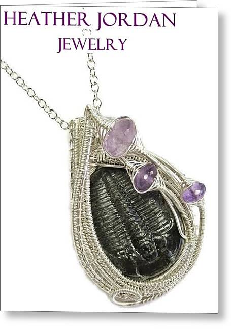 Wrap Jewelry Greeting Cards - Wire-Wrapped Trilobite Fossil Pendant in Sterling Silver with Amethyst TRILSS10 Greeting Card by Heather Jordan