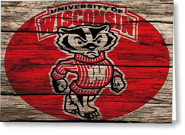 Basketballs Greeting Cards - Wisconsin Badgers Barn Door Greeting Card by Dan Sproul
