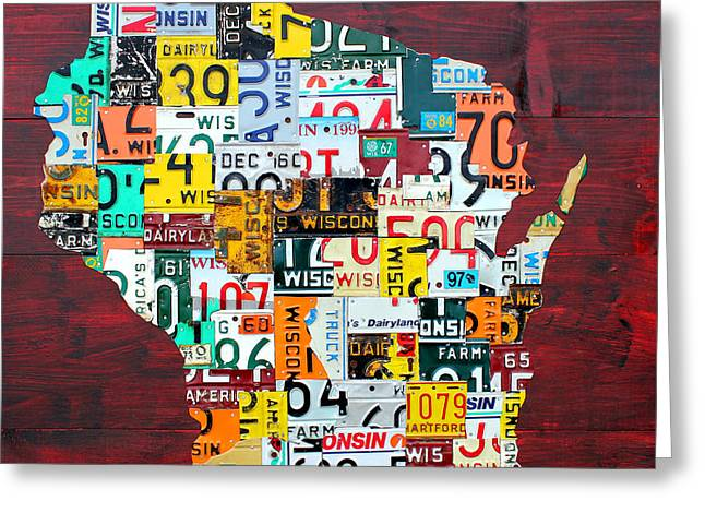 Wisconsin Art Greeting Cards - Wisconsin Counties Vintage Recycled License Plate Map Art on Red Barn Wood Greeting Card by Design Turnpike