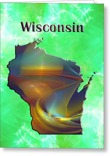 Abstract Digital Digital Greeting Cards - Wisconsin Map Greeting Card by Roger Wedegis