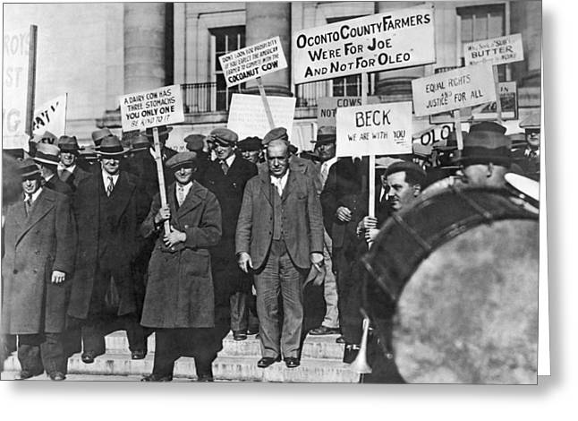 Wisconsin Oleo Protest Greeting Card by Underwood Archives