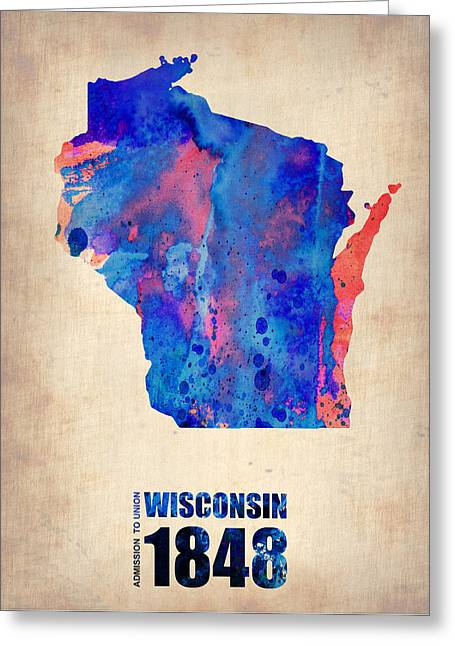 Maps. State Map Greeting Cards - Wisconsin Watercolor Map Greeting Card by Naxart Studio