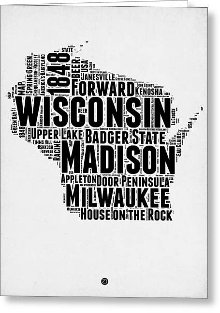 Wisconsin Word Cloud Map 2 Greeting Card by Naxart Studio
