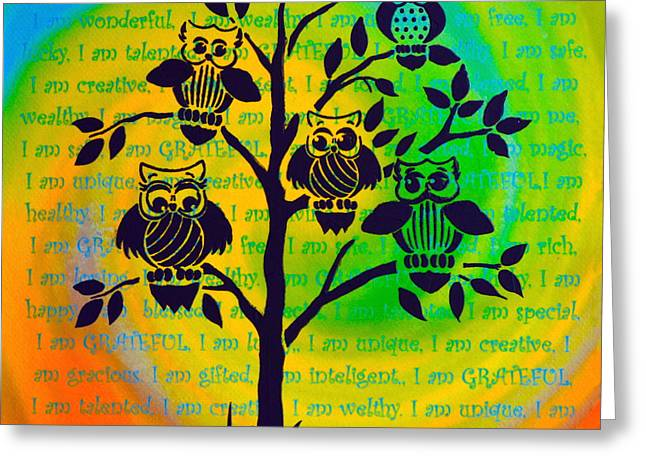 Empowerment Greeting Cards - Wisdom and Self Empowerment with Color Vortex Greeting Card by Agata Lindquist
