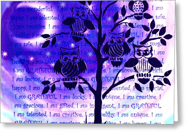 Empowerment Greeting Cards - Wisdom and Self Empowerment with Moonlight Vortex Greeting Card by Agata Lindquist