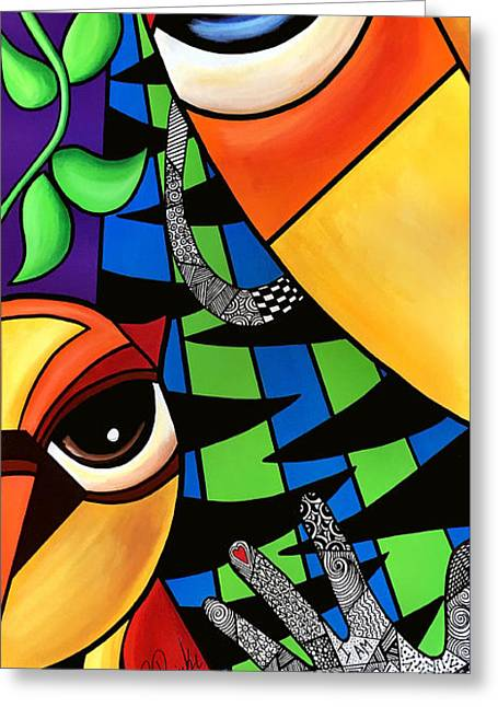 Abstract Style Greeting Cards - Wise Eyes Greeting Card by Pam Reinke