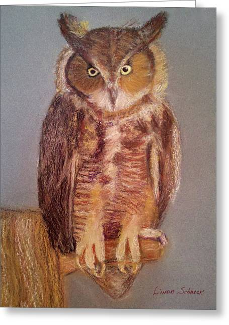 Great Birds Pastels Greeting Cards - Wise Guy Greeting Card by Linda Scharck