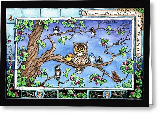 Baby Bird Drawings Greeting Cards - Wise Guys Greeting Card by Retta Stephenson