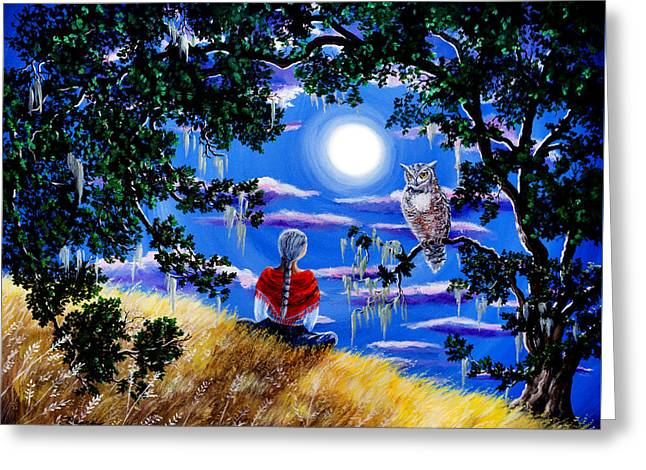 Wise Woman And Owl Full Moon Meditation Greeting Card by Laura Iverson
