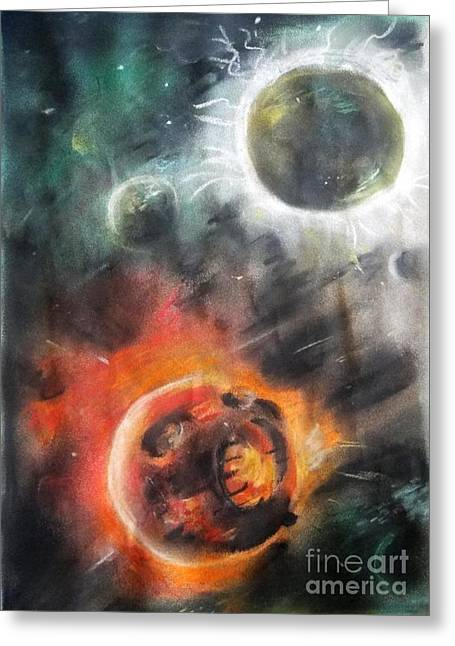 Planets Pastels Greeting Cards - Wish Upon Blackstars Greeting Card by Melissa Gallardo