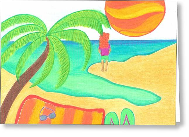 Beach Towel Greeting Cards - Wish You Were Here Greeting Card by Geree McDermott