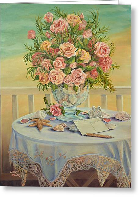 Glass Vase Greeting Cards - Wish You Were Here Greeting Card by Sherry Yaeger