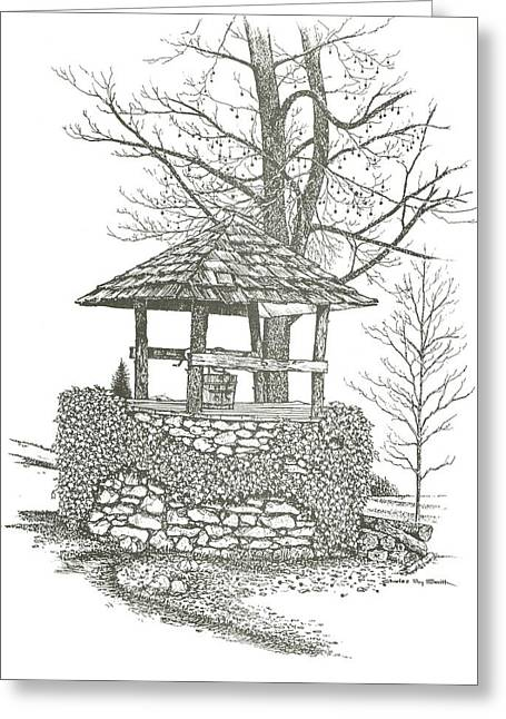 Wishes Drawings Greeting Cards - Wishing Well Greeting Card by Charles Roy Smith