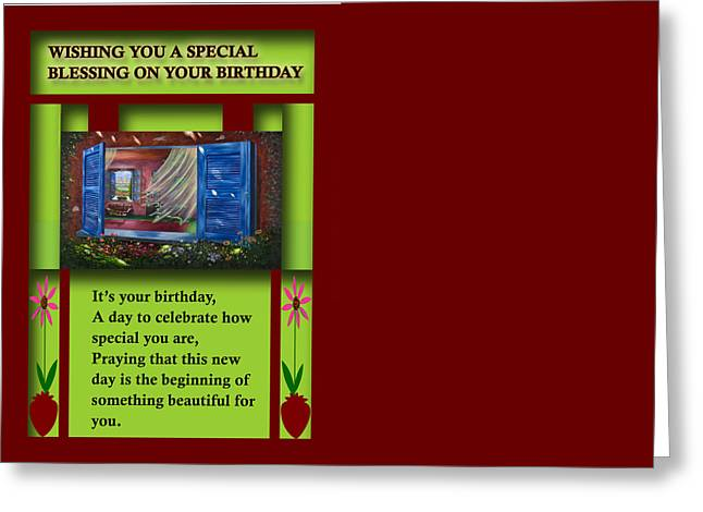 Religious Paintings Greeting Cards - Wishing You a Special Blessing on Your Birthday Greeting Card by Saeed Hojjati