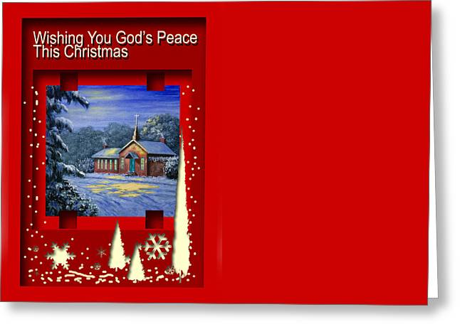 Religious Paintings Greeting Cards - Wishing You Gods Peace This Christmas Greeting Card by Saeed Hojjati