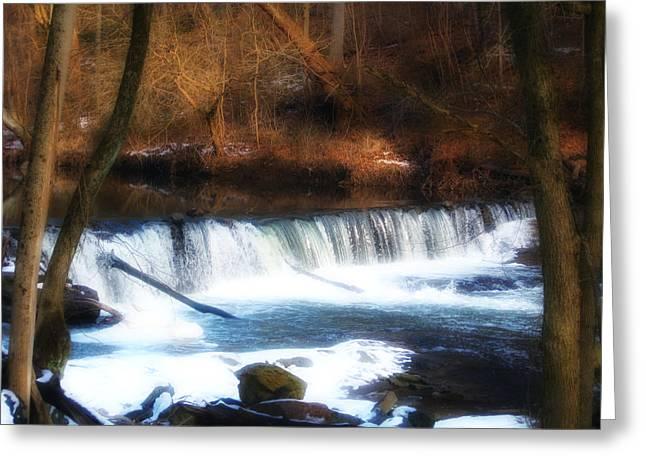 Valley Green Greeting Cards - Wissahickon Falls below Valley Green Greeting Card by Bill Cannon