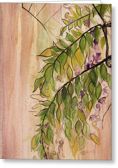 Wisteria Leaves Greeting Cards - Wisteria  Greeting Card by Carrie Jackson