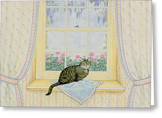 Ledge Greeting Cards - Wisteria Cat Greeting Card by Ditz