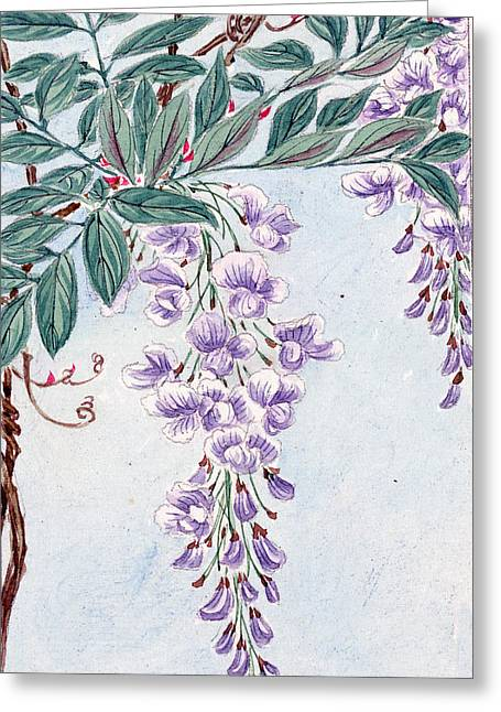 Wisteria In Bloom Greeting Cards - Wisteria Flowers and Leaves in Purple and Green Color Greeting Card by Jelena Ciric