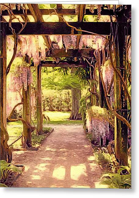 Wisteria In Bloom Greeting Cards - Wisteria in Watercolor Greeting Card by Susan Maxwell Schmidt