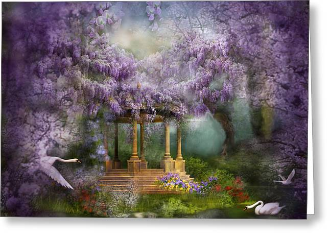 Wisteria Lake Greeting Card by Carol Cavalaris