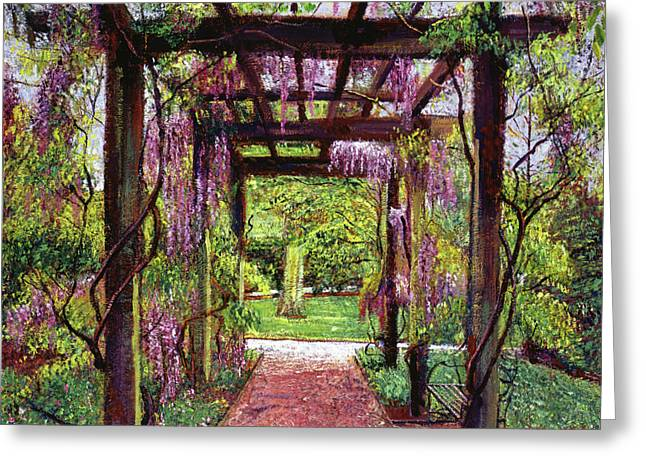 Trellis Paintings Greeting Cards - Wisteria Trellis Greeting Card by David Lloyd Glover