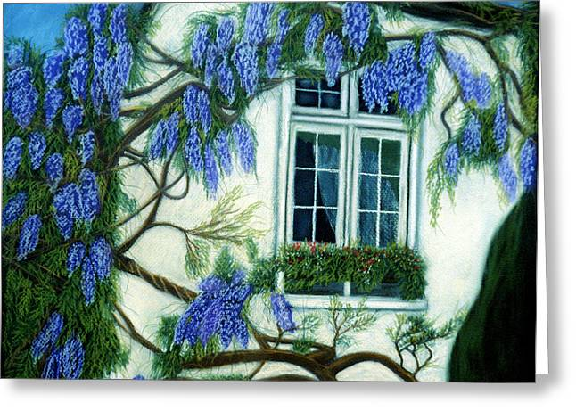 Georgia Pastels Greeting Cards - Wisteria Window Greeting Card by Jan Amiss