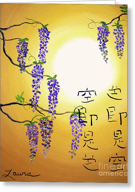 Wisteria Greeting Cards - Wisteria with Heart Sutra Greeting Card by Laura Iverson