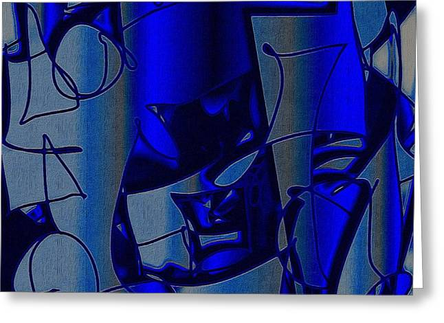 Pensive Greeting Cards - Wistful Blue Greeting Card by Doobie Dayglow