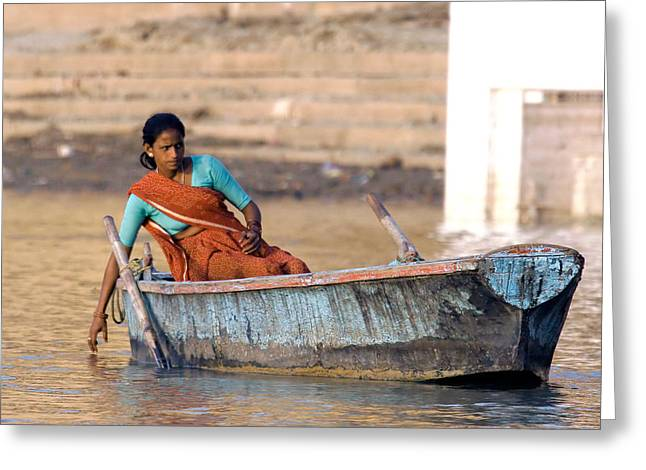 The Ganges Greeting Cards - Wistful Greeting Card by Tony Brown