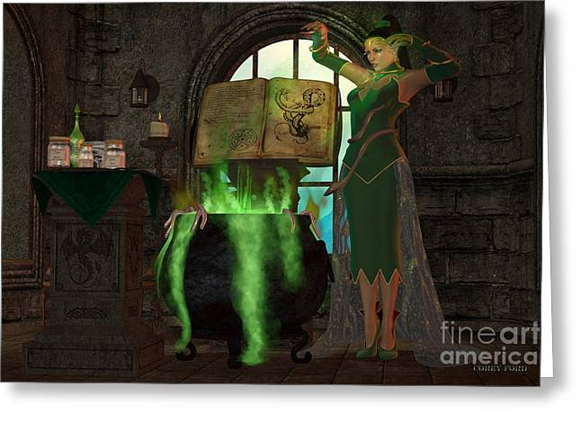 Witch Cauldron Greeting Card by Corey Ford