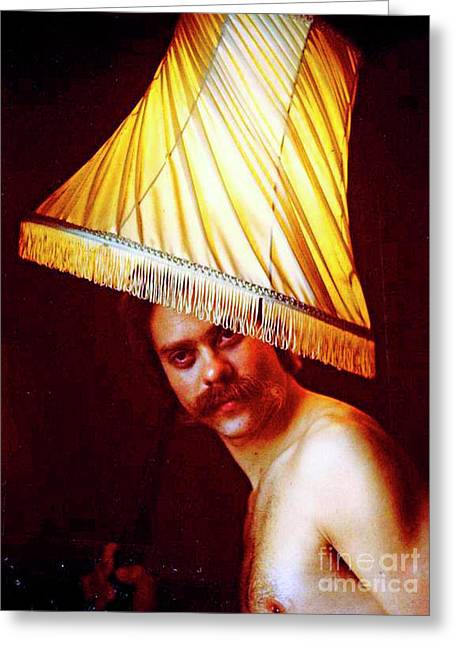 Mustache Greeting Cards - With A Lampshade On His Head Greeting Card by Michael Durst