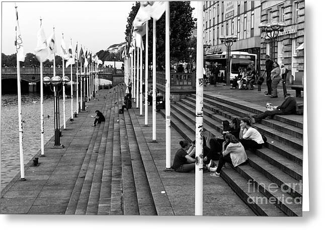 With Friends In Hamburg Mono Greeting Card by John Rizzuto