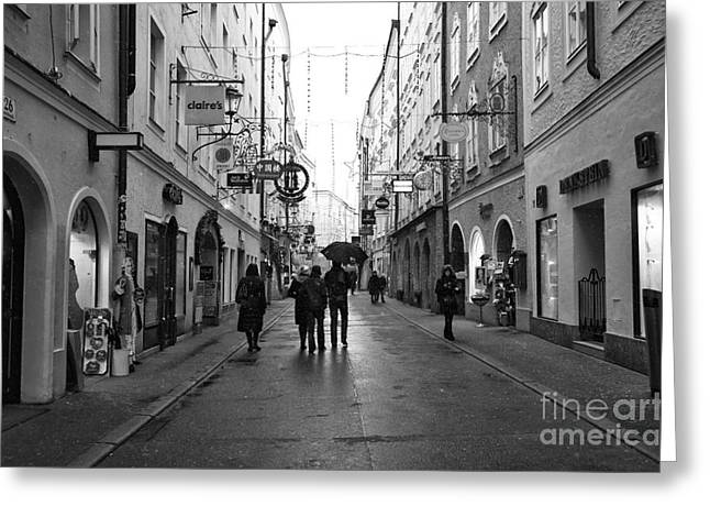 Art In Salzburg Greeting Cards - With Friends in Salzburg Greeting Card by John Rizzuto