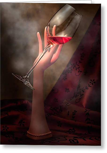 Glass Of Wine Greeting Cards - With Glass in Hand Greeting Card by Tom Mc Nemar