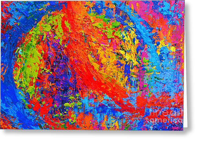 Within Circles - Colorful Modern Abstract Painting Palette Knife Work Greeting Card by Patricia Awapara