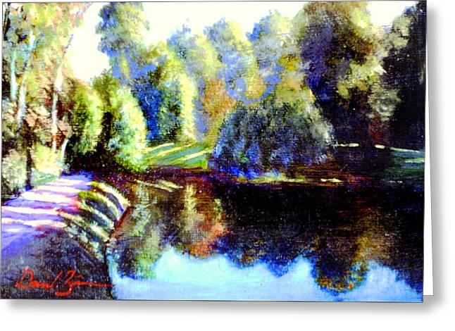 Pond In Park Greeting Cards - With Light From A Star Greeting Card by David Zimmerman
