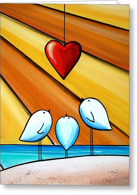 Three Children Paintings Greeting Cards - With Love III Greeting Card by Cindy Thornton