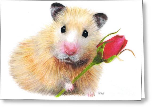 Hamster Drawings Greeting Cards - With Love Greeting Card by Karen Hull