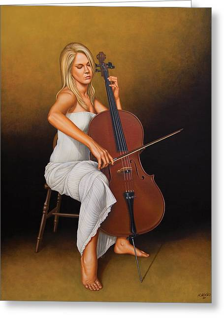 White Paintings Greeting Cards - With Music in Her Soul Greeting Card by Horacio Cardozo