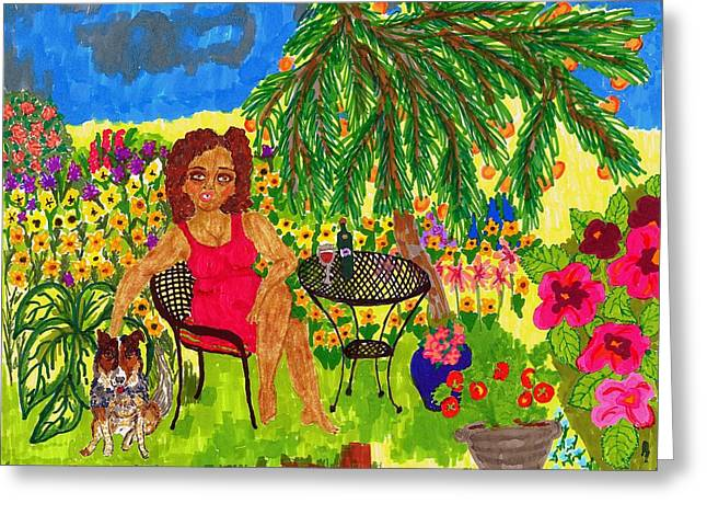 African American Art Drawings Greeting Cards - With Rudy in the Garden Greeting Card by Stacey Torres