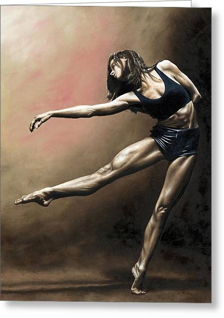 Pose Greeting Cards - With Strength and Grace Greeting Card by Richard Young