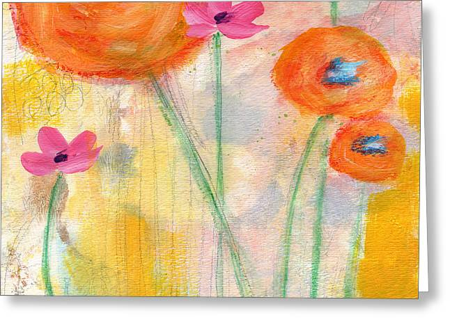 Rose Garden Greeting Cards - With The Breeze- Art by Linda Woods Greeting Card by Linda Woods