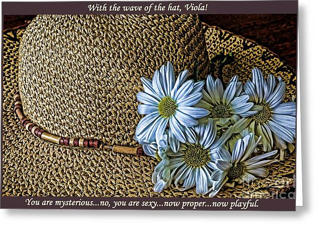 Wide Brim Hat Greeting Cards - With the Wave of the Hat Greeting Card by Pamela Blizzard