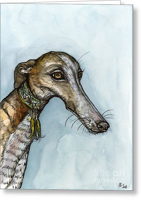 Greyhound Dog Greeting Cards - Without a doubt Greeting Card by Elle Wilson
