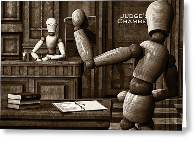 Artist Modeling Dummy Greeting Cards - Witness For The Prosecution Greeting Card by Bob Orsillo