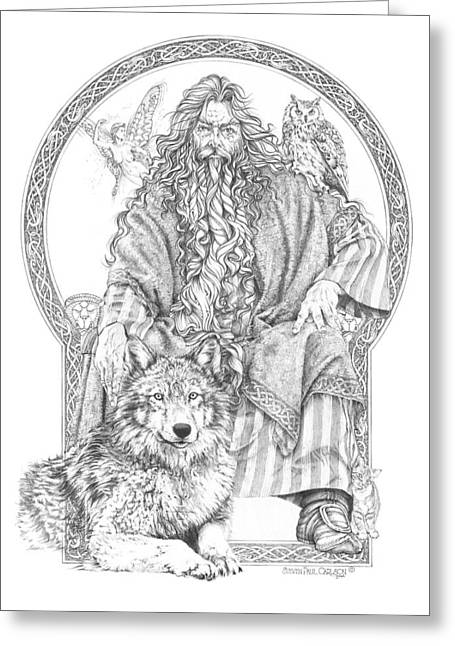 Wizard IIi - The Family Portrait Greeting Card by Steven Paul Carlson